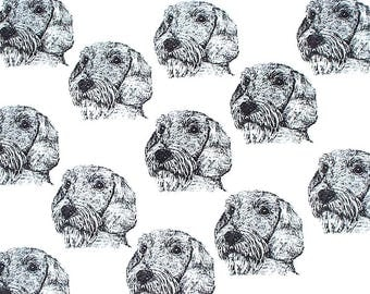 "Dachshund Dog Fabric Wire haired Dachshund Dog Fabric BEST All Cotton Ever""Feels Like Silk""Northcott for Hot Diggity Dog Craft SuppliesTools"