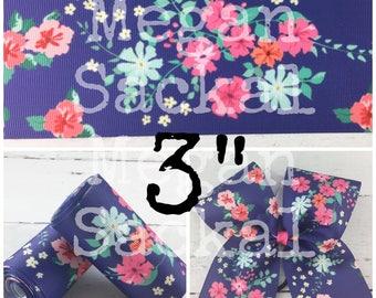 """3yd- 3"""" Ribbon, Floral Print Ribbon, Cheer Bow Ribbon, Navy and Pink Floral"""