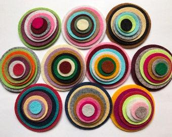 Wool Felt Circles Die Cut 70 total -  Sizes 2in - .5in Random Colored 4116 - Hair Clip Supply - Circle Die Cut - Merino Felt - DIY Felt