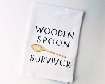 Wooden Spoon Survivor   Flour Sack Towel   Gifts under 10