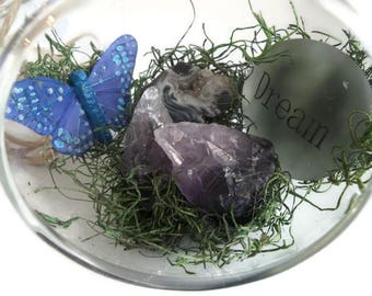Glass Globe Terrarium, Amethyst & Geode Gemstone Terrarium, Hanging Fairy Garden, Dream Butterfly Terrarium, Amethyst Crystal Point Orb