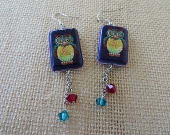 Painted Owl Tile Dangling Earrings With Teal And Red Crystals