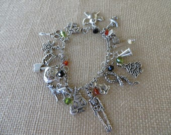 Nightmare Before Christmas Themed Silver Charm And Crystal Bracelet