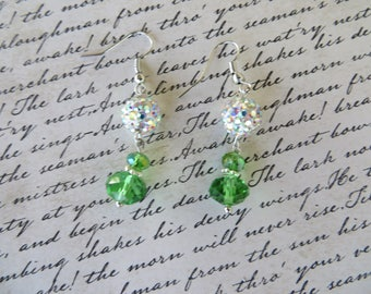 Sparkling Rhinestone And Green Faceted Crystal Drop Holiday Earrings