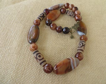 Triple Brown Agate Beaded Tribal Inspired Necklace