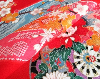 Japanese pure silk from Kyoto Red Floral pattern  No.3