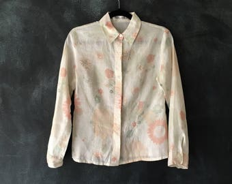 80s Guy Laroche Floral Linen Fitted Sheer Cream Pink Daisy Oxford Button Down Blouse Ladies Size XS/S