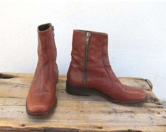 SALE 90s Cognac Ankle Chelsea Beetle Boots Made In Italy Ladies Size 5.5