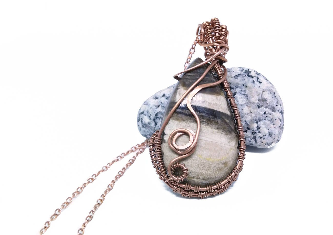 Wire Wrapped Petrified Wood Necklace in Copper