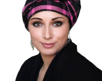 Pink Black Plaid Turban Head Wrap, Chemo Hat, Head Wrap Alopecia Scarf, Hijab, Boho, Gypsy 331-35