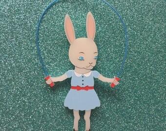 Skipping Bunny Handmade Perspex Brooch - Pale Blue Dress
