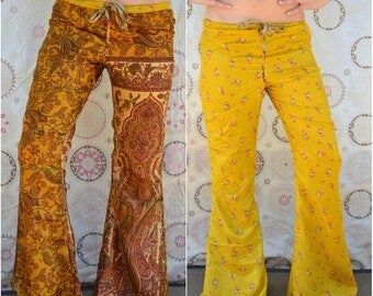 35% OFF Small /// ATHENA Lounge Pants /// Reversible Boho Casual Bells /// Vintage Saree Print Flare Pants /// one of a kind