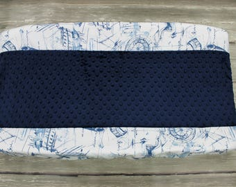 Blue Nautical Schooner Changing Pad Cover