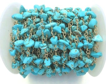 3 feet Turquoise Nugget Rosary Chain, Gold Plated Wire Wrapped Rosary Chain, Beaded Chain - 3 feet