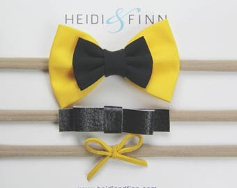 """CUSTOM listing for paige Emma """"wiggles"""" inspired Hairbow SET of 3 Hairband cotton little yellow black leather suede hair clip"""