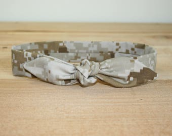 MARPAT USMC Adult Headband with Tie Hairbow Military Digital Camo