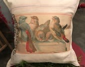 Grain Sack Pillow Cover   Row of Birds  by Gathered Comforts