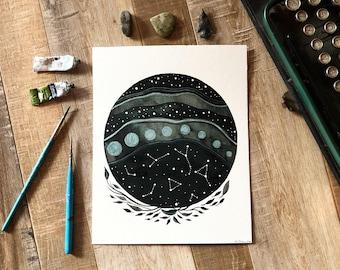 Celestial Watercolor // original painting // aurora borealis & the imaginary constellations 5/365