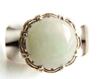 Vintage Sterling Silver Light Marbled Jade Cocktail Ring - Jadeite - Translucent - Intricate Basket Setting - Prong Set - Size 7 - Signed