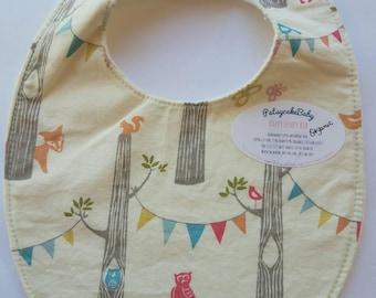 Happy Hempy, organic cotton and hemp fleece backed baby bib, super absorbent, woodland animals,  pennants