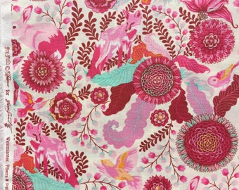 Fox Field Foxtrot pink Tula Pink fabric FQ or more OOP HTF