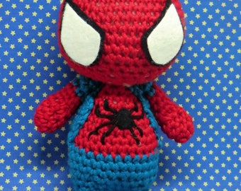 Spiderman amigurumi collectable doll - inspired by Spider-man Home coming. Hand made to order