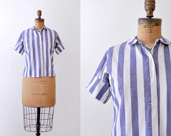 70's striped blouse. Blue & white. 1970's small top. Button up. M.