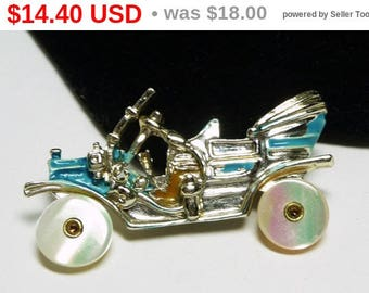 Spring Fling Sale Vintage Car Brooch - Old Convertible Model T - Mother of Pearl MOP Wheels - Turquoise Blue - 1950's Figural Pin