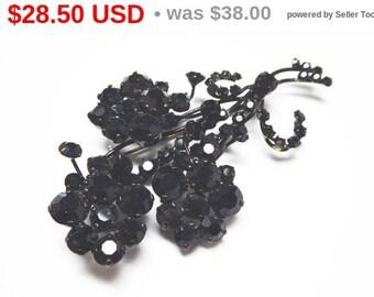 Black Rhinestone Flower Brooch - Flower Bouquet Pin Signed Made in Austria  - European Mourning Brooch - Vintage 1950s Rhinestones