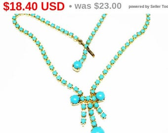 Vintage Turquoise Necklace - Round Glass Prong Set Stones in Choker Design - Retro 1980's - 1990's