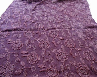 Vintage Fabric Remnant  Maroon Floral