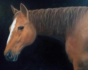 Horse Oil Painting Horse Portrait Chestnut Horse 12 X 16 Canvas Horse Lover Animal Lover Country Decor Cottage Decor