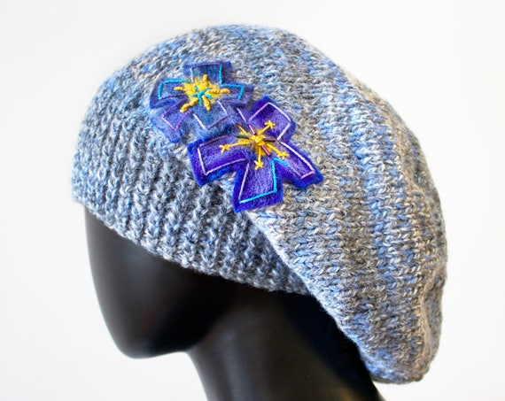Morning Mist Slouch Hat - Blue Grey Winter Hat & Violet Flower - Warm Grey Knitted Hat - grey hat wooly hat grey slouch hat smart winter hat