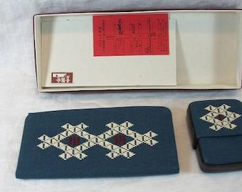 Vintage Embroidered Oriental NOS NIB Wallet and Cigarette Case