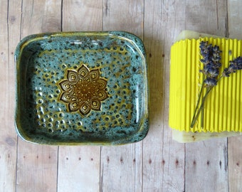 Ceramic soap dish, mandala pottery, clay soap dish, pottery soap dish, stoneware soap dish, soap holder, handmade ceramics and pottery