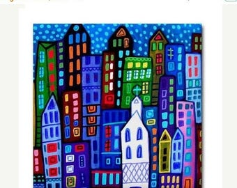 45% Off Today- NY New york City art Tile Ceramic Coaster Mexican Folk Art Print of painting by Heather Galler