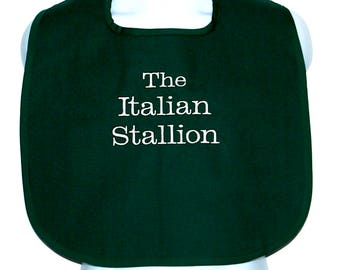 Italian Stallion Bib, Custom Funny Adult, For Man, Friend, Boyfriend, Husband, Personalize With Name, No Shipping Fee, Ships TODAY AGFT 1258