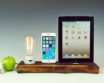 Walnut docking station for iPad and iPhone 7, 7+, or ANY iPhone, Edison bare bulb lamp and solid live edge walnut dock/charger.  USA. #774.