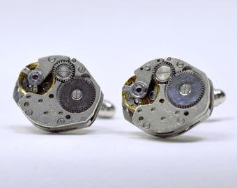 Steampunk cufflinks with genuine 17 Jewel rone watch movements, ideal birthday, graduation or anniversary gift 80