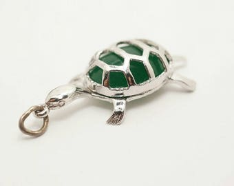 Vintage Sterling/Glass Tortoise Charm