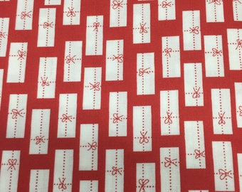 5/8 Yard of CHERRY CHRISTMAS Red and White Package Fabric by Aneela Hoey
