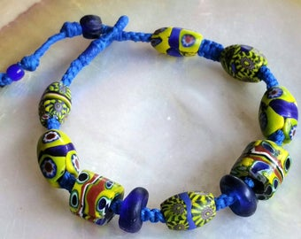 Antique Venetian Millefiori Glass tradebead Hand woven Macrame Bracelet Wrist Adornment.