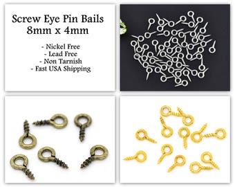 10pcs / 1000pcs Wholesale Screw Eye Bails - 8mm x 4mm - Screw Eyelets Eye Pin Ring Connector Eyepins - Hooks Silver Bronze Gold Grommet