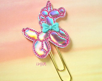 Unicorn Balloon Pink Holo Paperclip Planner Clip