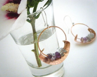Mimosa gypsy hoops, handmade copper & sterling silver, agate chips