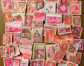 50 RED Used World Postage Stamps for crafting, collage, cards, altered art, scrapbooks, decoupage, history, collecting, philately 11a