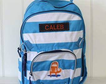Large Backpack with Monogram Pottery Barn (Large Size) --Blue/White Rugby Stripe with Monster
