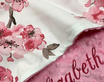 Add Satin Ruffle, Watercolor floral Baby Blanket, Pink Floral Cotton Baby Blanket, Personalized Baby blanket,Floral Woodland Nursery,