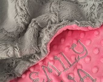 Baby Blanket, Personalized Baby Blanket, Gray Lattice and Ivory Minky Baby Blanket, Newborn Boy Baby Blanket, Standard Size