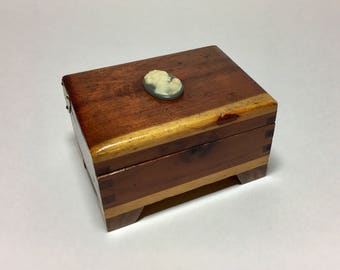 Vintage Cedar Jewelry Box Small Treasure Chest With Cameo